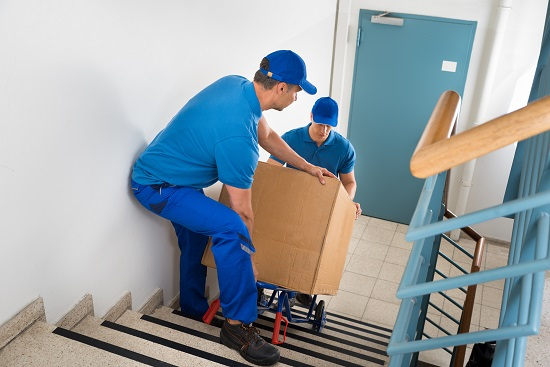 Two Professional Movers With Box On Staircase